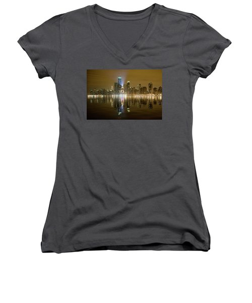 Women's V-Neck T-Shirt (Junior Cut) featuring the photograph Chicago Skyline With Lindbergh Beacon On Palmolive Building by Peter Ciro