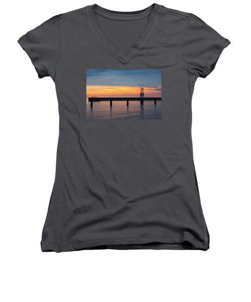 Women's V-Neck T-Shirt (Junior Cut) featuring the photograph Chicago Sunrise At North Ave. Beach by Adam Romanowicz
