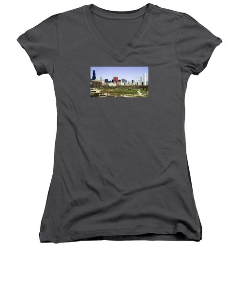 Chicago- The Windy City Women's V-Neck T-Shirt (Junior Cut) by Ricky L Jones