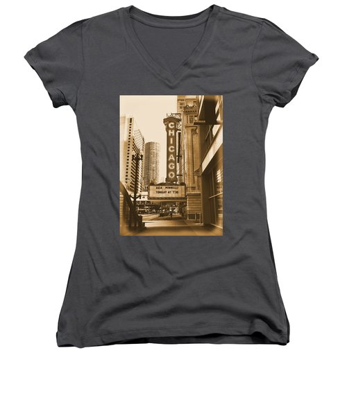 Chicago Theater - 3 Women's V-Neck T-Shirt (Junior Cut) by Ely Arsha