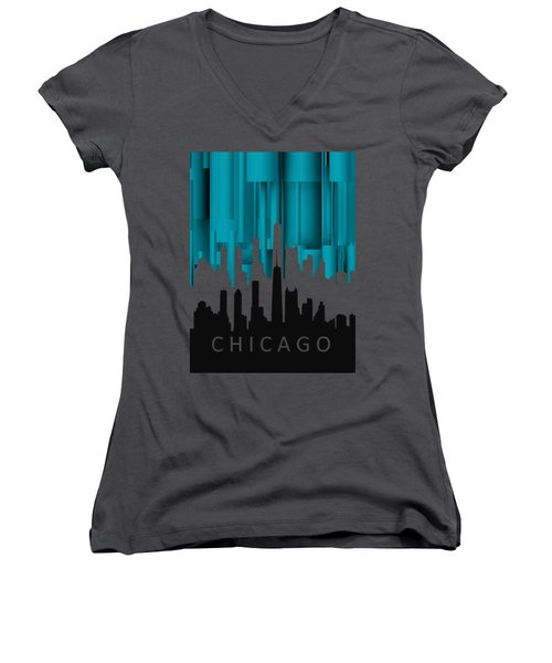 Chicago Turqoise Vertical In Negetive Women's V-Neck (Athletic Fit)