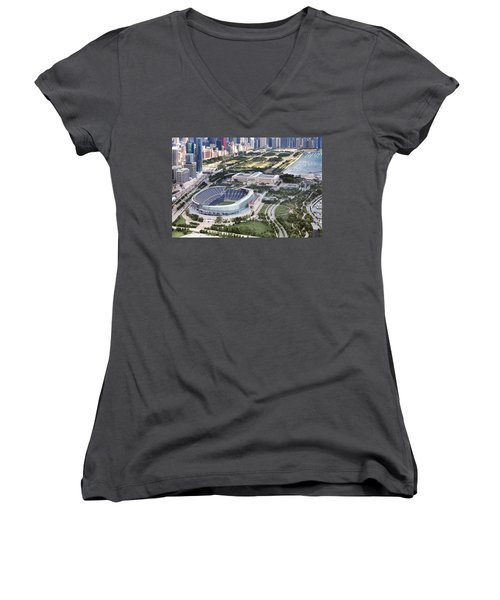 Women's V-Neck T-Shirt (Junior Cut) featuring the photograph Chicago's Soldier Field by Adam Romanowicz