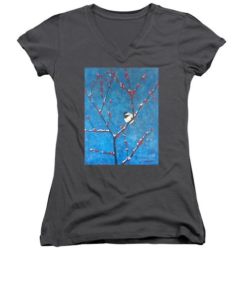 Women's V-Neck T-Shirt featuring the painting Chickadee Bird by Denise Tomasura