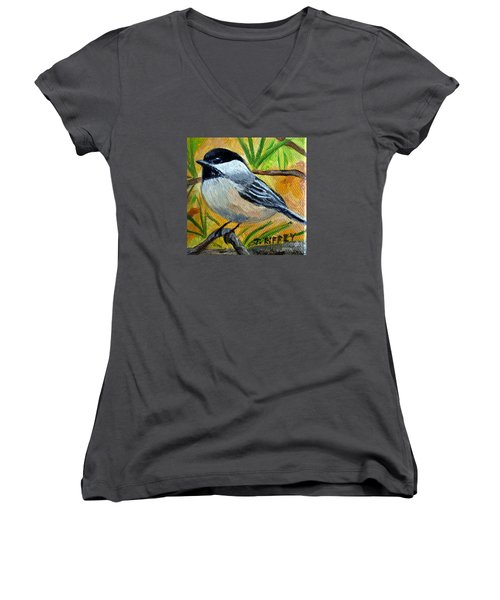 Chickadee In The Pines - Birds Women's V-Neck T-Shirt