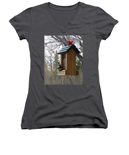 Women's V-Neck T-Shirt (Junior Cut) featuring the photograph Chickadee by Wendy Shoults