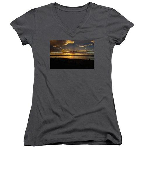 Chickahominy  Women's V-Neck T-Shirt (Junior Cut) by Linda Larson