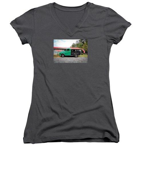 Chicken Road Market Women's V-Neck T-Shirt (Junior Cut) by Marion Johnson