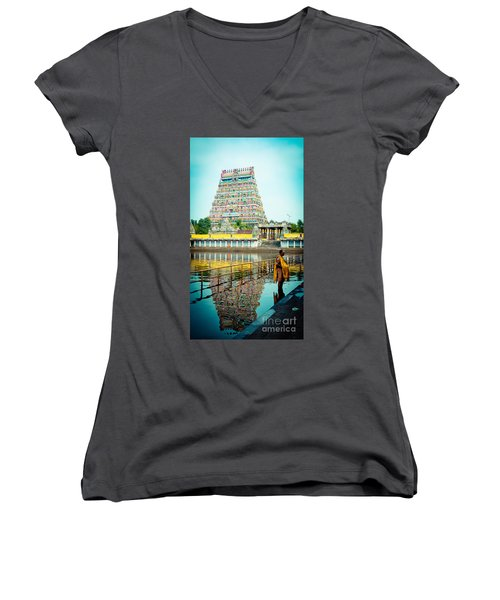 Chidambaram Temple Lord Shiva India Women's V-Neck