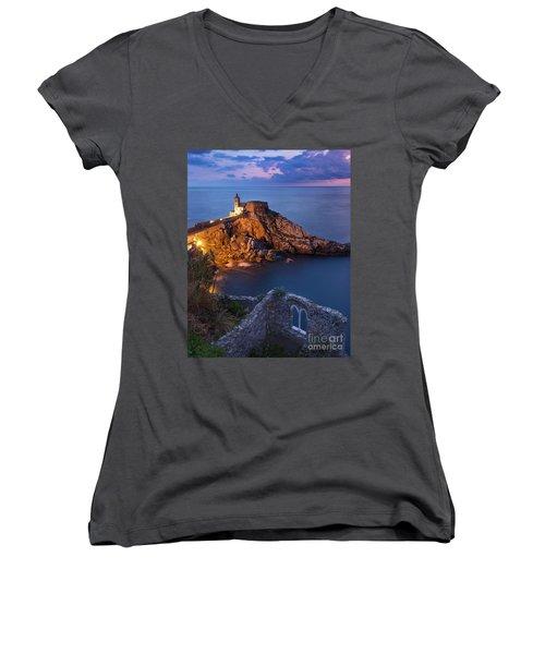 Women's V-Neck T-Shirt (Junior Cut) featuring the photograph Chiesa San Pietro by Brian Jannsen
