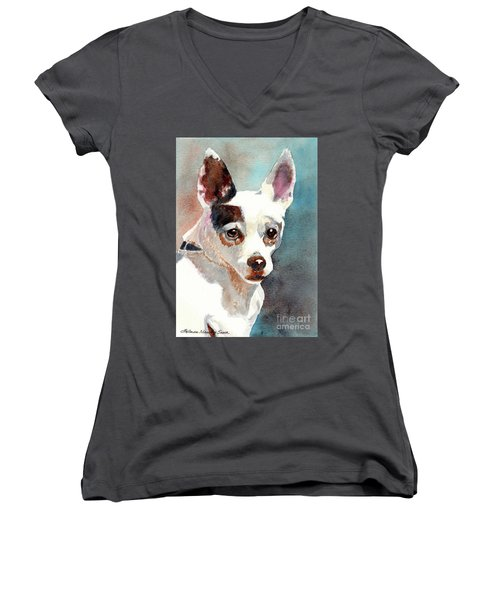 Chihuahua, Dog Painting, Dog Portrait, Dog Prints, Dog Art Women's V-Neck (Athletic Fit)