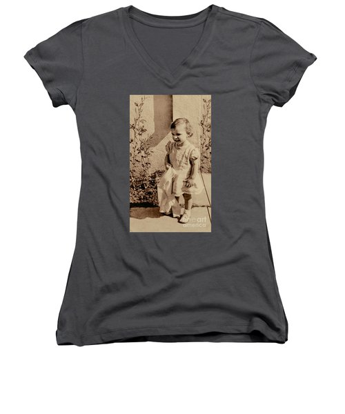 Women's V-Neck T-Shirt (Junior Cut) featuring the photograph Child Of 1940s by Linda Phelps