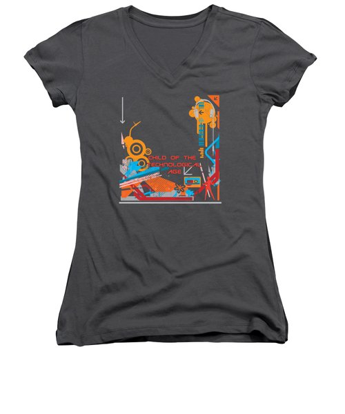 Child Of The Technological Age Women's V-Neck T-Shirt (Junior Cut) by Paulette B Wright