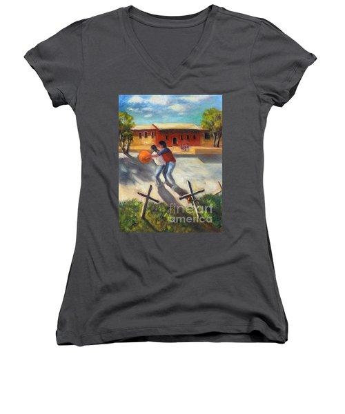 Tres Cruces De La Juventud Y La Vejez Women's V-Neck T-Shirt (Junior Cut) by Randy Burns