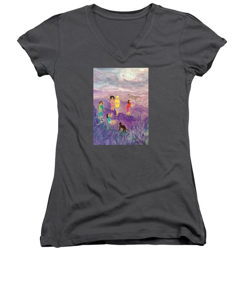 Children Catching Fireflies Women's V-Neck