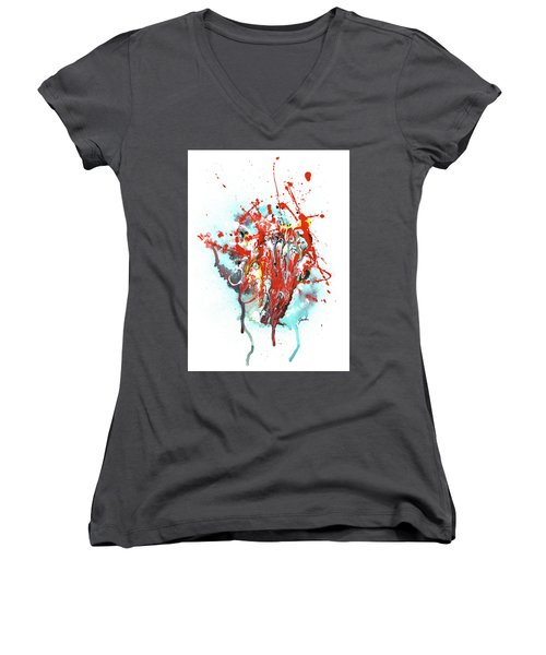 Children Of Light - Colorful Bright Read And Blue Abstract Art Painting Women's V-Neck