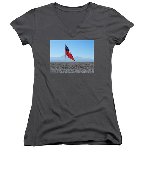 Chilean Flag Women's V-Neck (Athletic Fit)