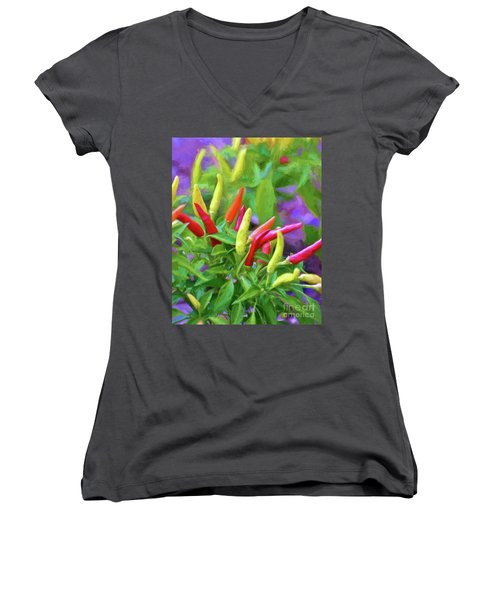 Women's V-Neck T-Shirt featuring the photograph Chili Pepper Art by Kerri Farley