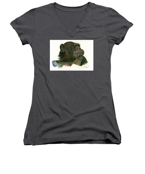 Chimp Portrait Women's V-Neck T-Shirt (Junior Cut) by Juan Bosco