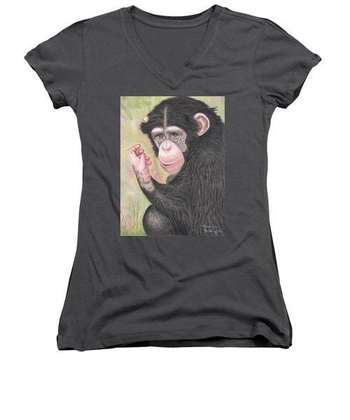 Chimpanzee Women's V-Neck T-Shirt (Junior Cut) by Brenda Bonfield
