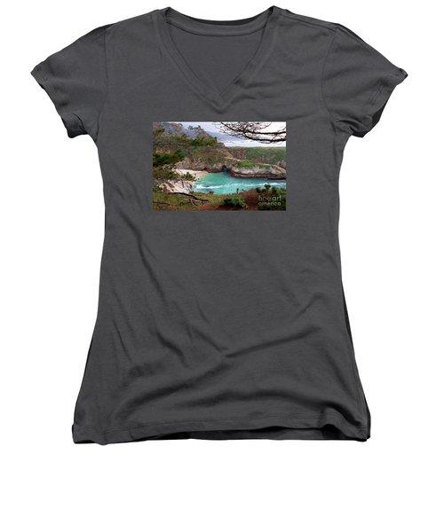 China Cove At Point Lobos Women's V-Neck T-Shirt