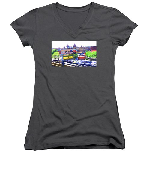 Chinatown Chicago 1 Women's V-Neck T-Shirt (Junior Cut) by Marianne Dow