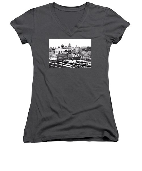 Chinatown Chicago 4 Women's V-Neck T-Shirt (Junior Cut) by Marianne Dow
