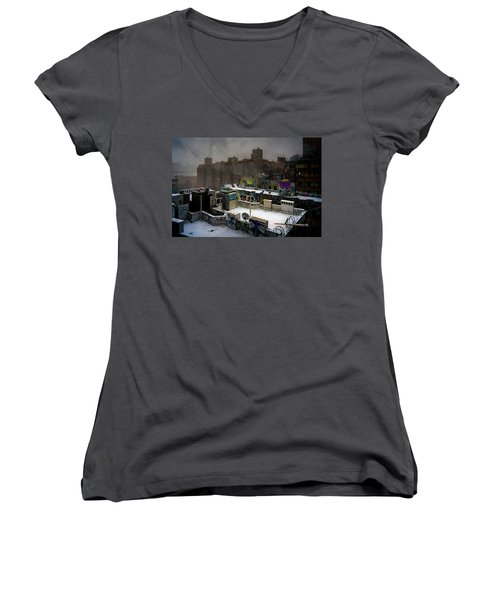 Women's V-Neck T-Shirt (Junior Cut) featuring the photograph Chinatown Rooftops In Winter by Chris Lord