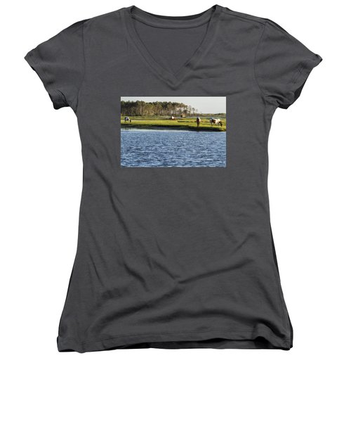 Chincoteague Ponies On Assateague Island Women's V-Neck (Athletic Fit)
