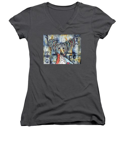 Chinese Crested Women's V-Neck T-Shirt (Junior Cut) by Patricia Lintner