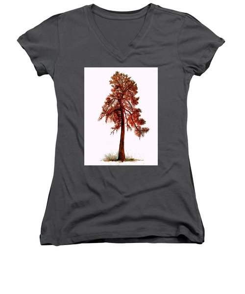 Women's V-Neck T-Shirt (Junior Cut) featuring the drawing Chinese Pine Tree Drawing by Maja Sokolowska