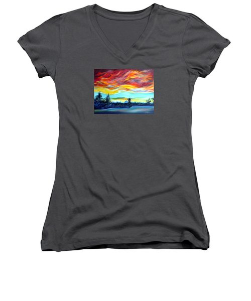 Women's V-Neck T-Shirt (Junior Cut) featuring the painting Chinook Arch Over Bow River by Anna  Duyunova