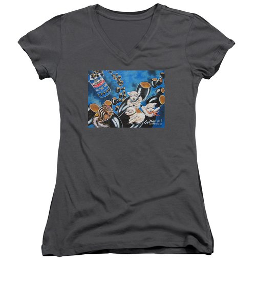 Women's V-Neck T-Shirt (Junior Cut) featuring the painting Chip And Dip In Space Olives by Sigrid Tune