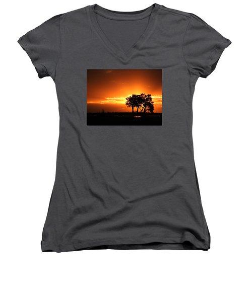 Women's V-Neck T-Shirt (Junior Cut) featuring the photograph Chobe River Sunset by Betty-Anne McDonald
