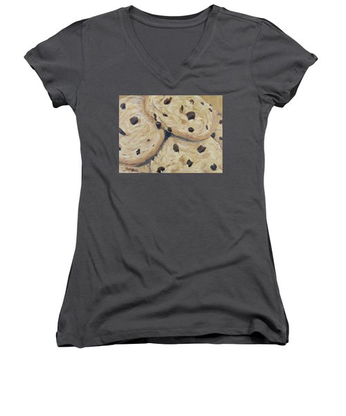 Women's V-Neck featuring the painting Chocolate Chip Cookies by Nancy Nale