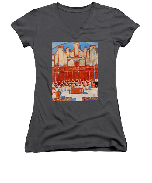 Choir And Organ Women's V-Neck T-Shirt (Junior Cut) by Rodger Ellingson