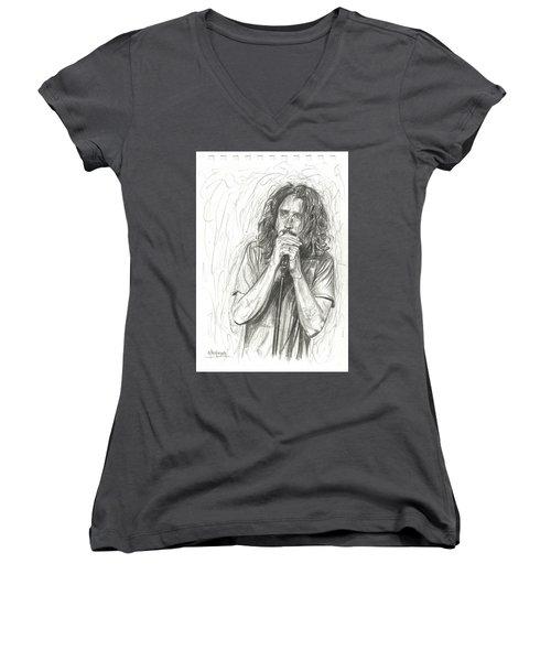 Chris Cornell Women's V-Neck (Athletic Fit)