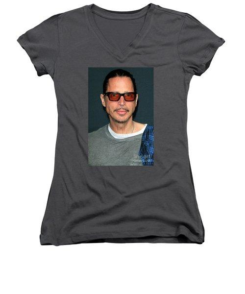 Chris Cornell Women's V-Neck T-Shirt (Junior Cut) by Nina Prommer