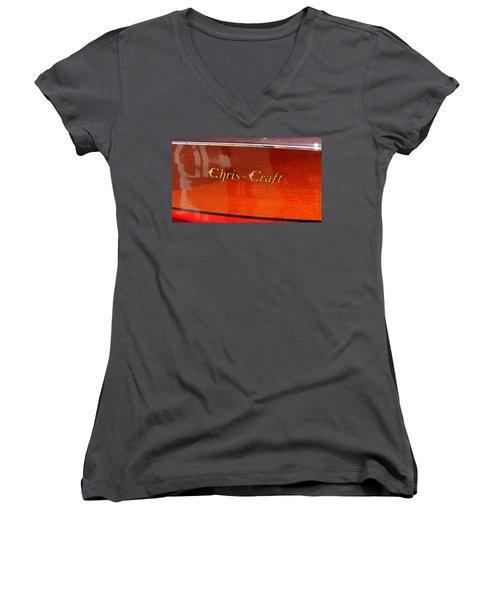 Chris Craft Logo Women's V-Neck T-Shirt (Junior Cut) by Michelle Calkins