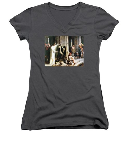 Women's V-Neck T-Shirt (Junior Cut) featuring the painting Christ Christ And The Man At The Healing Wel by Carl Heinrich Bloch