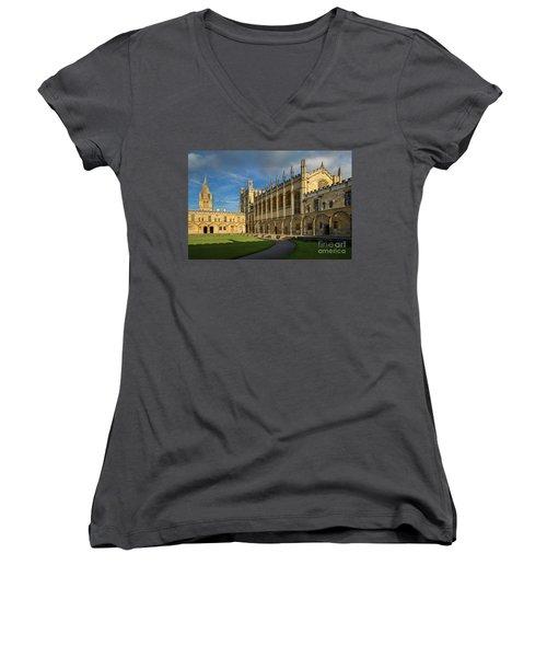 Women's V-Neck T-Shirt (Junior Cut) featuring the photograph Christ Church College II by Brian Jannsen