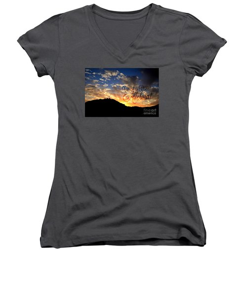 Christ Is Risen Women's V-Neck T-Shirt (Junior Cut) by Sharon Soberon