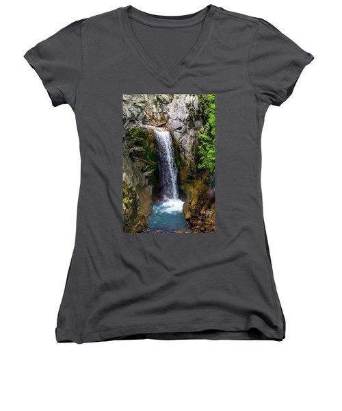Christine Falls Mt Rainier Women's V-Neck