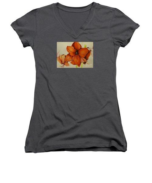 Christmas Amaryllis Women's V-Neck T-Shirt