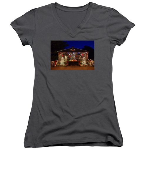 Christmas At The Lighthouse Gazebo Women's V-Neck T-Shirt