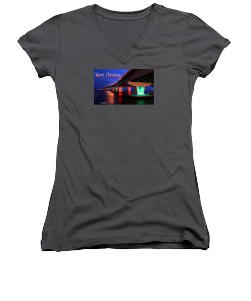 Christmas Bridge Women's V-Neck T-Shirt
