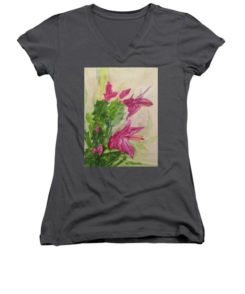 Women's V-Neck T-Shirt (Junior Cut) featuring the painting Christmas Cactus by Wendy Shoults