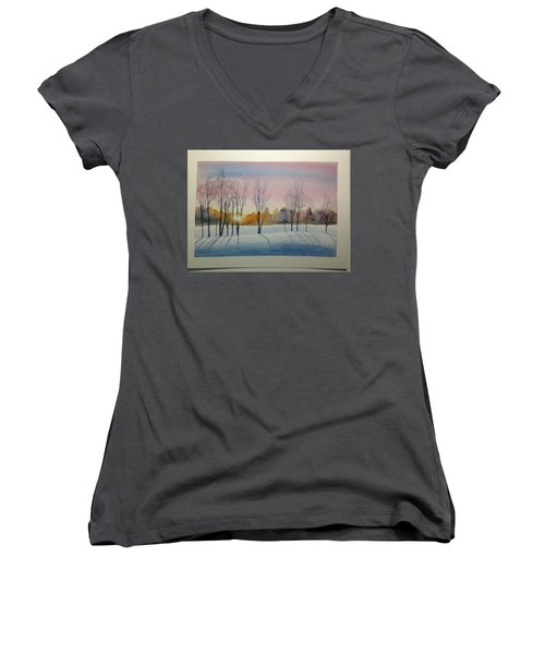 Christmas Card Women's V-Neck (Athletic Fit)