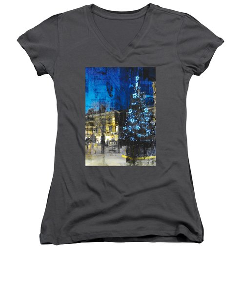 Women's V-Neck T-Shirt (Junior Cut) featuring the photograph Christmas Eve by LemonArt Photography