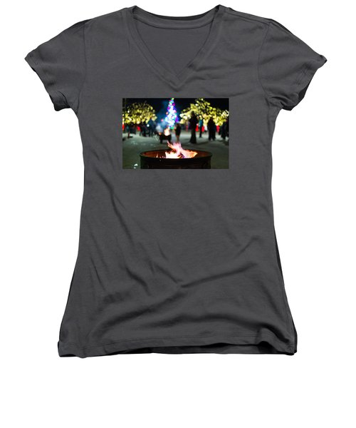 Christmas Fire Pit Women's V-Neck
