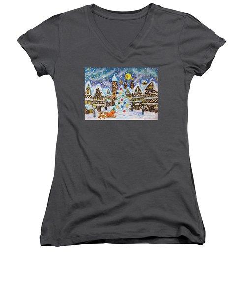 Christmas In Europe Women's V-Neck T-Shirt